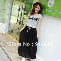 2013 three color women dress real shot was thin letters printed sleeveless chiffon dress spell color Cotton Dress 11674