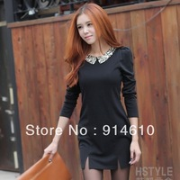 2013 new fashion women dress two color Hitz doll collar dress sequined Dress 11651