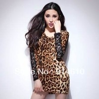2013 European style lace dress long-sleeved dress stitching package hip leopard ( with belt ) Dress 11636