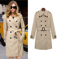 European fashion novelty 2014 style long sleeve runway desigual lace trench coat with sashes Free Shipping DM131855