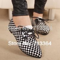 2014 fashion color block knitted plaid flat black single shoes white elegant female shoes