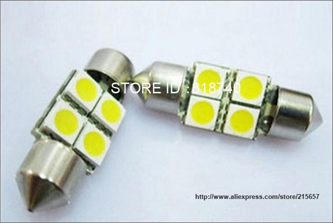 10pcs/lot white 4 SMD 4 LED Festoon Dome Car Bulb C5W 211 212 12V 31mm 4SMD 4LED 5050 Car dome light(China (Mainland))