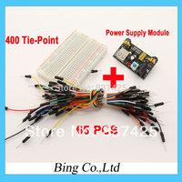 400 Tie-point Solderless PCB Breadboard + 65pcs Jumper Wire Male to Male +Breadboard Power Supply Module Free Shipping