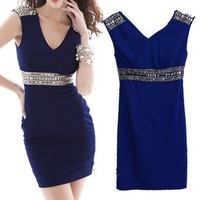 Evening dress 2014 new arrival sexy short with crystal v-neck dresses party evening elegant vestidos de fiesta robe de soiree