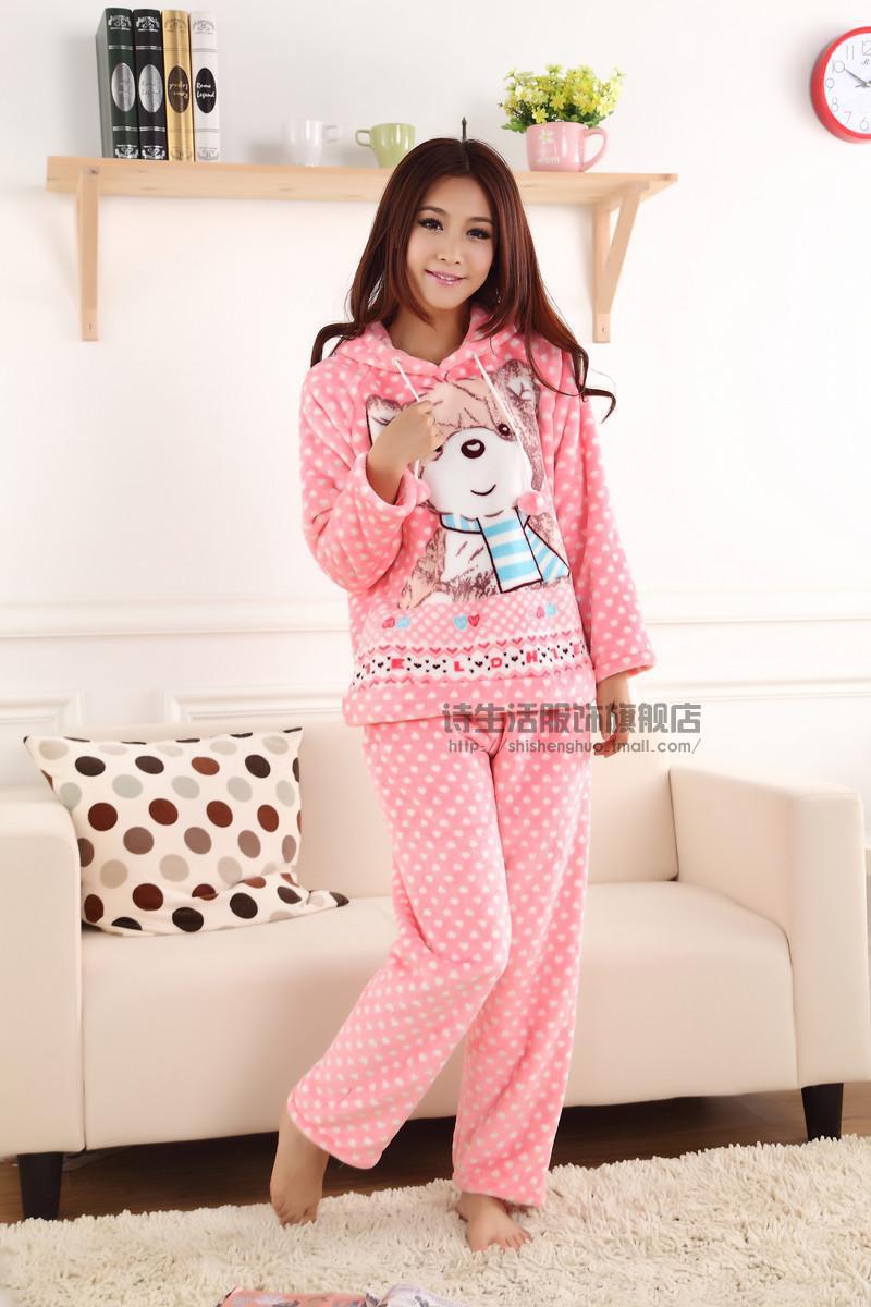Promotion nouvelle velours corail pyjamas femmes costume belle chaud pais hiver pyjamas for Pyjama femme chaud