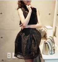 saia chiffon 2013 chiffon lace puff dress piece set slim sweet fashion female  saia shorts womens Summer saia chiffon vintage