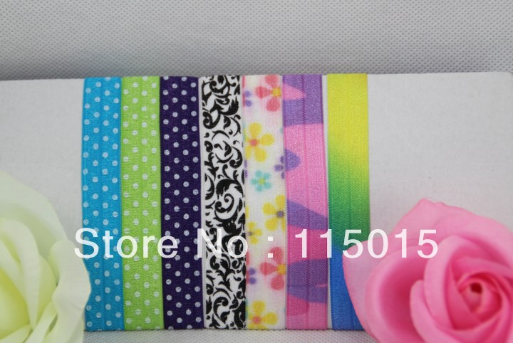 7 Colors FOE Free shipping 120pcs Fold Over Elastic Hair Ties bracelet print wristbands ponytail holder for girl(China (Mainland))