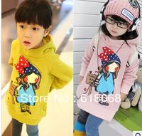 Free Shipping New 2013 Autumn&Winter Children Clothing Sweatshirt Cartoon Thickening Long Fleece Top Hooded Outerwear 5pcs/lot