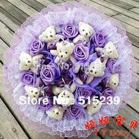 New!Rhinestone Bear Cartoon Bouquet 11 Teddy Bear 11 Roses Doll Bouquet Birthday Gift Big Order Big Discount y412