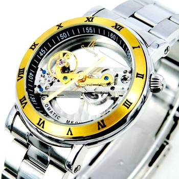 IK  automatic mechanical watch,gold hollow out through at the end male table,Excellent Waterproof and Stainless Steel,IK1001