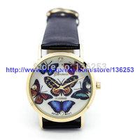 Women Geneva 3D Butterfly Face Leather Band Rhinestone Quartz Watch Ladies Elegant Analog Dress Wristwatches 100pcs/lot 2Colors
