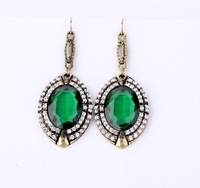 2013 Free Shipping Luxury Vintage Green CZ Cubic Zirconia Lady Earrings Women Jewelry Pendant Drop Earrings Wholesale
