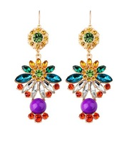 High Quality Fashion Purple Crystal Stone Flower Drop Earrings Vintage Brand Luxury Statement Jewelry Gold Women Free Shipping