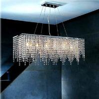 Free shipping rectangle design modern crystal chandelier lustres e pendentes sala jantar L80*H120cm dining room lighting