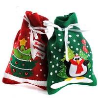 Hot Sale!Christmas gift bag10pcs/lot,Green&Red Christmas Tree Shape Style Bag,Large christmas bags gift bag hemp print gift bags