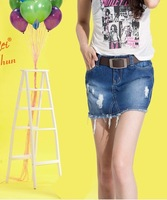 Pollera De Jeans 2013 autumn fashion hole denim short skirt slim hip skirt slim tassel plus size denim skirt female  saia jeans