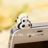Anti Dust Earphone Jack Cap panda Plug Stopper For Iphone HTC All Cell Phone Free shipping plug68