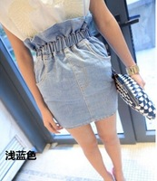 Pollera De Jeans brief vintage all-match elastic waist water wash denim skirt bust summer 2013 short denim casual skirt saia