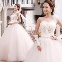 2013 White Sexy flower bride wedding sweet princess Slim wedding dress for indoor clothing