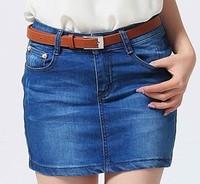 Pollera De Jeans 2013 spring and summer denim short skirt bust pencil tight skort ruffle flower print denim skirt slim hip saia