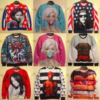 2014 women/men 3D Sweaters Long sleeve pullovers Monroe galaxy sweatshirts animal 3d hoodies sweater top S/M/L/XL
