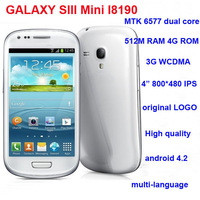 i8190(S9920) MTK6577 mini S3 3G Android 4.2 512M RAM/4G ROM Dual Core Original 4.0 WVGA IPS AMOLED Display GPS Wi-Fi Bluetooth