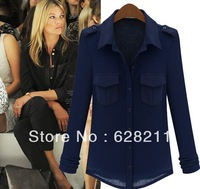 Wholesale Blue cardigan 2013 Fashion New Temperament Cotton Blouse Sleeve 778 BLUE Black Shirt Free shipping