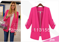 2013 new hot stylish and comfortable women's cotton Blazers Candy color lined with striped suit waist was thin long-sleeved suit