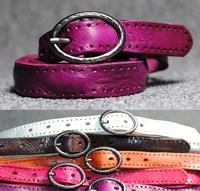 100% Genuine Leather New 2014 Women Vintage Thin Belt Designer Brand Woman Strap Cinto Ladies Waist Ceinture Blue Red  WBT0025