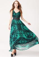 Free Shipping vintage dress summer of 2014 double V neck long dress,  flower printed  Dress Chiffon Dress with belt