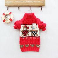 Female male  child high-neck sweater children cotton