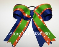 "4.5"" Big Streamer Ribbons Ponytail  Girls Uniform Orange Royal Green  Cheer Hair Bow  12pcs"