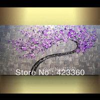 "ORIGINAL Large Cherry Bloom Purple Tree Painting Textured Modern Palette Knife Art ,48"" x 24"""