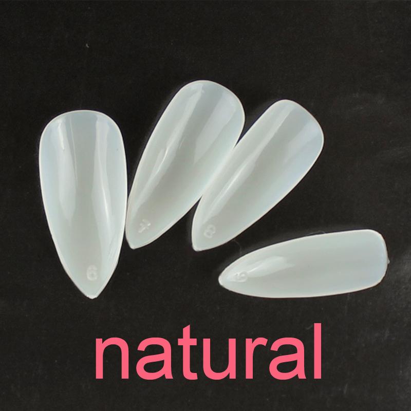 free shipping ,New Arrivals salon DIY nail tips, 500 pcs+100 pcs fake nail,full cover natural color false stiletto nails(China (Mainland))