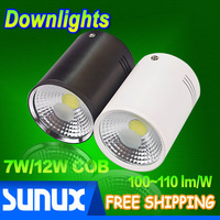 Free Shipping 7W/12W Surface Mounted LED Downlights Super Bright COB Epistar Chip 100~110 lm/W Black Body/White Body
