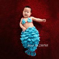 Super Cute Baby Princess Infant Girls Crochet Mermaid Animal Costume Newborn Photography Photo Props 0-6 Months free shipping