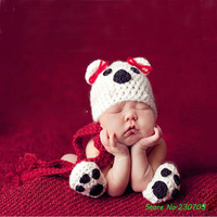 Super Cute Baby Infant Puppy Dog Handmade Knitted Crochet Animal Costume Photo Photography Prop Newborn Newborn Hat+Shoes+Scarf