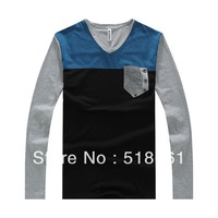 Wholesale  Stripe Pocket Casual Korean Style 25 Styles Quality Cotton Long Sleeve Tops & Tees t Shirt Men's Clothing