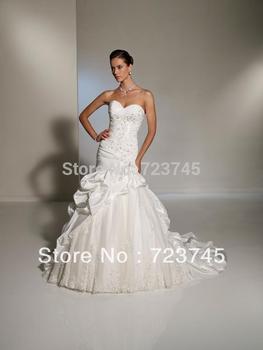 Бренд свадебное платье бесплатная shipping2013 милая белый Meimaid элегантный тюль органза тафты свадебные платья свадебное платье