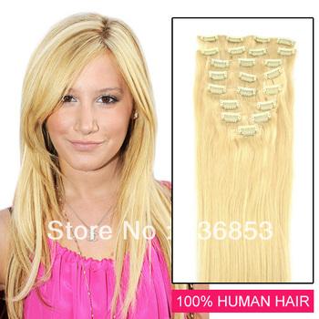 "Cheap Remy human individual Hair,Clip ins Human Hair Extensions 16""-28inch Color #613,new star hair team,perfume 100 original"