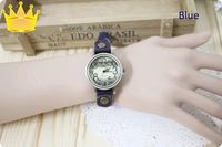 Vintage  korean laces watch dial rivet slender watchband watch