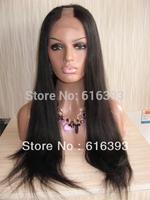 Free Shipping Custom #1b Yaki straight  Virgin Brazilian Human Hair Full Lace U Part  Wig--u part human hair wigs