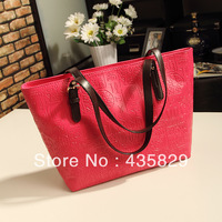 2013 Promotion  women's casual fashion  large  pu buckle    tote handbag