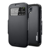 Slim Armor Spigen SGP hybrid Flip Frame S View Infinity plastic guard Window sleep Wake Case For Samsung Galaxy S4 i9500 40pcs