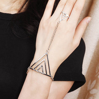 2014 new fashion 18K gold plated punk metal geometric triangle rings bracelets 6g one hand chain wholesale jewelry