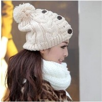 2014 Fashion Winter Warm Hats  and Caps For Women And Girls Female Hemp Floral Knitted hat With Three Bottons free shipping