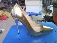 Brand outlet,Original Jc high-heeled shoes gold women's  metal heel  pointed toe single 12cm  free shipping