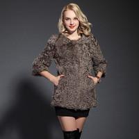 2013 slim berber fleece fur coat three quarter sleeve o-neck medium-long