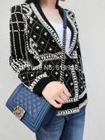Luxury pearls beaded beading blazer 2014 New Autumn winter women high street embroidery handmade runway black jacket Outerwear