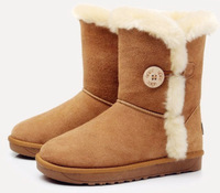 Free shipping women genuine leather shoes winter snow boots women button boots in the pure color cowhide